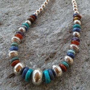 Sterling silver beaded necklace with multi gems